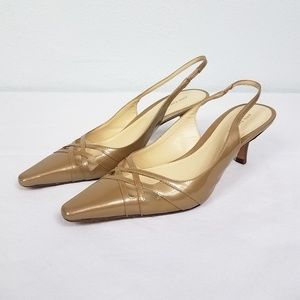 Ann Taylor Gold Leather Sling Back Mules Pumps